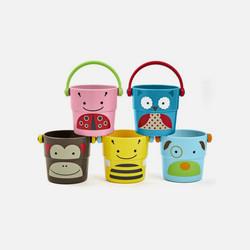 美国直邮Skip Hop动物园系列缤纷小水桶沐浴玩具 5个装 9个月以上