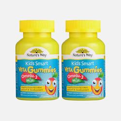 2瓶包邮包税澳洲直邮Nature's Way KidsSmart 佳思敏软糖50粒复合维生素Omega3*2 效期到17年9月