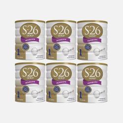 澳洲直邮【包邮包税】Wyeth惠氏S-26 金装新生婴儿牛奶粉1段 (0-6个月) 900g*6罐