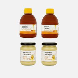 Waitrose/纯清澈蜂蜜挤压罐装 454g*2瓶 + 纯结晶蜂蜜玻璃罐装 454g*2瓶 (英国直邮/包邮包税)