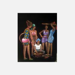 尼日利亚直邮【包邮包税】 手工装饰画 艺术品 月下小聚 磨砂布画  无框 NGP0616104