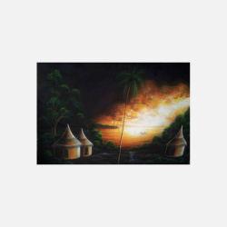 尼日利亚直邮【包邮包税】 手工装饰画 艺术品 宁静村庄 磨砂布画  无框 NGP0616107