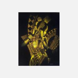 尼日利亚直邮【包邮包税】 手工装饰画 艺术品 金色少女 磨砂布画  无框 NGP0616105