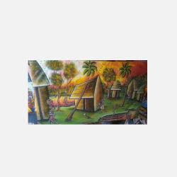 尼日利亚直邮【包邮包税】 手工装饰画 艺术品 清晨的村庄 油布画  无框 NGP0616109