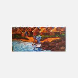 尼日利亚直邮【包邮包税】 手工装饰画 艺术品 洗衣少妇 油布画  无框 NGP0616110