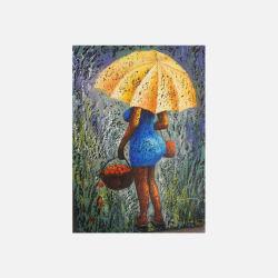 尼日利亚直邮【包邮包税】 手工装饰画 艺术品  雨中少妇 油布画  无框 NGP0616115