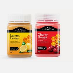 【买二送一】新西兰直邮【包邮包税】Streamland新溪岛 天然柠檬蜂蜜 柠蜜 500g+天然车厘子樱桃蜂蜜 500g 送百里香蜂蜜 500g