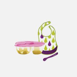 b.box 粉色零食碗+围嘴套装 围嘴图案颜色随机 澳洲直邮包邮包税